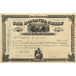 MT - Helena,Lewis & Clark County - April 23, 1881 - Bonanza Chief Gold Mining Company Stock Certific