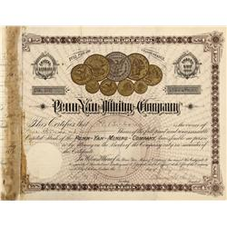 MT - Helena,Lewis & Clark County - Penn-Yan-Mining-Company Stock Certificate - Fenske Collection