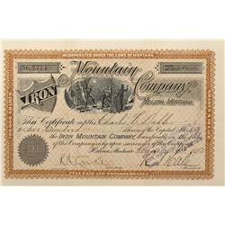 MT - Iron Mountain,Mineral County - 1892 - Iron Mountain Company, Helena, Montana Stock Certificate