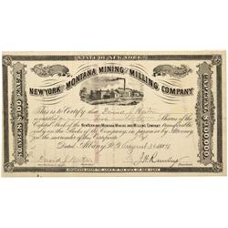 MT - Madison,Aug. 30 1884 - New York and Montana Mining and Milling Company Stock Certificate *Terri