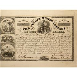 MT - Ontonogan County,1848 - Vulcan Mining Co. Stock Certificate - Fenske Collection