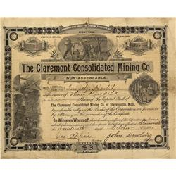 MT - Stevensville,Raville County - Oct. 14, 1891 - The Claremont Consolidated Mining Co. Stock Certi