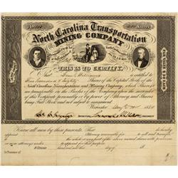 NC - August 10, 1854 - North Carolina Transportation and Mining Company, Stock
