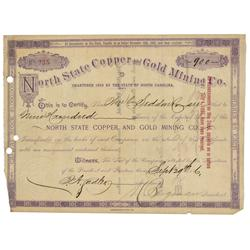 NC - September 29, 1886 - North State Copper and Gold Mining Co., Stock