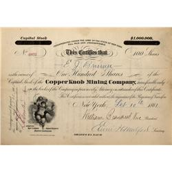 NC - Ashe County,1881 - Copper Knob Mining Company Stock Certificate - Fenske Collection