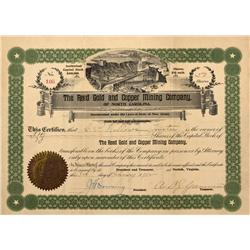 NC - Cabarrus County,1902 - Reed Gold and Copper Mining Company Stock Certificate - Fenske Collectio