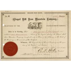NC - Chapel Hill,Orange County - April 30, 1881 - Chapel Hill Iron Mountain Company, Stock