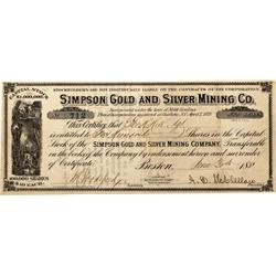 NC - Mecklenburg County,1881 - Simpson Gold and Silver Mining Co. Stock Certificate - Fenske Collect