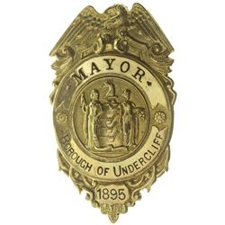 NJ - Borough of Undercliff,Bergen County - 1895 - Gold Mayor Badge