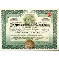 NJ - Paterson,Passaic County - 1916 - American Salvage Co. Stock Certificate