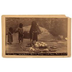 NM - Santa Fe,Santa Fe County - 1870-1886 - Pueblo Indian Woman Firing Pottery Photograph - Mueller
