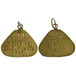 NM - Socorro County,c1904 - Tri-Bullion Mining Co. Gold Pendant, .5oz