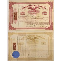 NV - 1866 - Eagle Mining Co. Stock Certificate *Territorial*