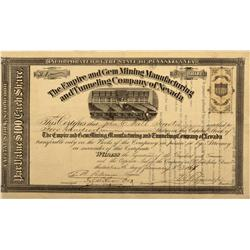 NV - 1868 - Empire and Gem Mining, Manufacturing and Tunneling Company of Nevada Stock Certificate -