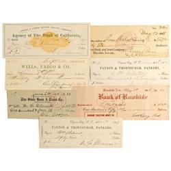NV - 1862-1909 - Nevada Checks Grouping - Gil Schmidtmann Collection