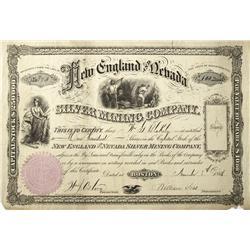 NV - Nov. 8, 1866 - New England and Nevada Stock Certificate