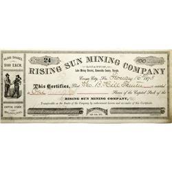 NV - Aurora County - 1878 - Rising Sun Mining Company Stock Certificate