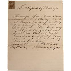 NV - Aurora,Esmeralda County - 1864 - Certificate of Marriage *Territorial* - Clint Maish Collection