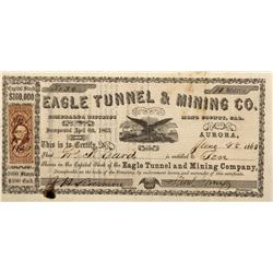 NV - Aurora,Mono County - 1863 - Eagle Tunnel & Mining Co. Stock Certificate