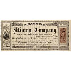 NV - Austin,Lander County - 1864 - Craesus Mining Company Stock Certificate - Clint Maish Collection