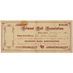 NV - Belmont,Nye County - Jan. 11 1872 - Belmont Hall Association Stock Certificate - Clint Maish Co