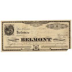 NV - Belmont,Nye County - Feb. 23, 1878 - Belmont Mining Company Stock Certificate - Clint Maish Col