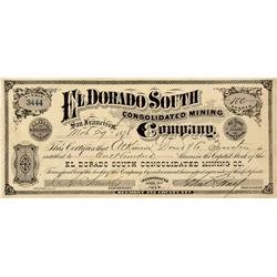 NV - Belmont,Nye County - March 29, 1878 - El Dorado South Consolidated Mining Company Stock Certifi