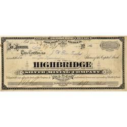 NV - Belmont,Nye Coutny - Aug. 19, 1878 - Highbridge Silver Mining Company Stock Certificate - Clint