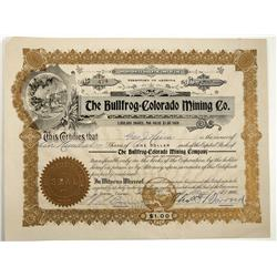 NV - Bullfrog,Nye County - 1906 - Bullfrog Colorado Mining Co. Stock Certificate