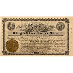 NV - Bullfrog,Nye County - 1909 - Bullfrog Gold Center Water and Mills, Ltd. Stock - Clint Maish Col