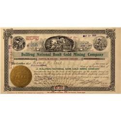 NV - Bullfrog,Nye County - 1908 - Bullfrog National Bank Gold Mining Company Stock - Gil Schmidtmann