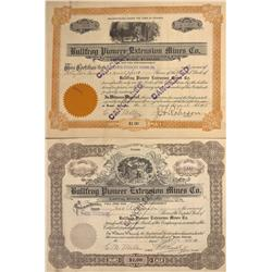 NV - Bullfrog,Nye County - 1915 - Bullfrog Pioneer Extension Mines Co. Stock Certificates - Clint Ma