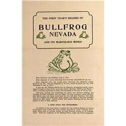 NV - Bullfrog,Nye County - Bullfrog Prospectus - Gil Schmidtmann Collection