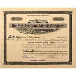 NV - Bullfrog,Nye County - 1909 - Bullfrog Syndicate Mining Company Stock - Fenske Collection