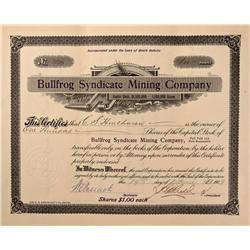 NV - Bullfrog,Nye County - 1909 - Bullfrog Syndicate Mining Company Stock - Gil Schmidtmann Collecti