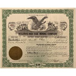 NV - Bullfrog,Nye County - 1907 - Bullfrog-Red Oak Mining Company Stock - Gil Schmidtmann Collection