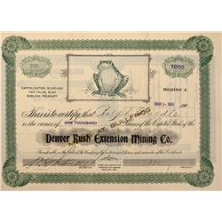 NV - Bullfrog,Nye County - 1906 - Denver Rush Extension Mining Company Stock Certificate - Gil Schmi
