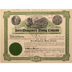 NV - Bullfrog,Nye County - 1906 - Dores=Montgomery Mining Company Stock Certificate - Gil Schmidtman