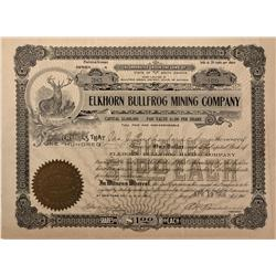 NV - Bullfrog,Nye County - 1906 - Elkhorn Bullfrog Mining Company Stock Certificate - Fenske Collect
