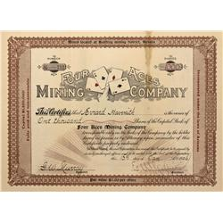 NV - Bullfrog,Nye County - 1906 - Four Aces Mining Co. Stock Certificate - Fenske Collection