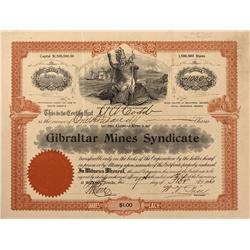 NV - Bullfrog,Nye County - 1906 - Gibraltar Mines Syndicate Stock Certificate - Gil Schmidtmann Coll