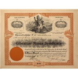 NV - Bullfrog,Nye County - 1905 - Gibraltar Mines Syndicate Stock Certificate - Fenske Collection