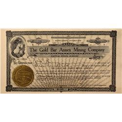 NV - Bullfrog,Nye County - 1906 - Gold Bar Annex Mining Company Stock Certificate - Gil Schmidtmann