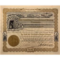 NV - Bullfrog,Nye County - 1907 - Gold Bar Consolidated Mining Company Stock Certificate - Gil Schmi
