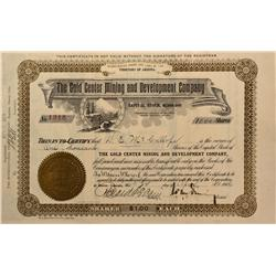 NV - Bullfrog,Nye County - 1906 - Gold Center Mining and Development Company Stock Certificate - Gil