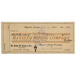 NV - Bullfrog,Nye County - February 10, 1908 - Hayseed Mining Company Check - Gil Schmidtmann Collec