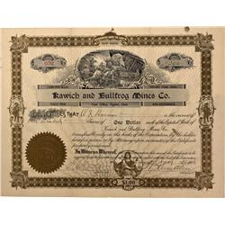 NV - Bullfrog,Nye County - 1906 - Kawich and Bullfrog Mines Company Stock - Fenske Collection