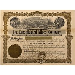 NV - Bullfrog,Nye County - 1909 - Lee Consolidated Mines Company Stock - Fenske Collection