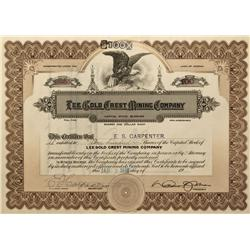 NV - Bullfrog,Nye County - 1910 - Lee Gold Crest Mining Company Stock Certificate