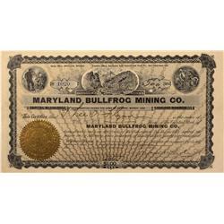 NV - Bullfrog,Nye County - 1906 - Maryland Bullfrog Mining Company Stock - Gil Schmidtmann Collectio